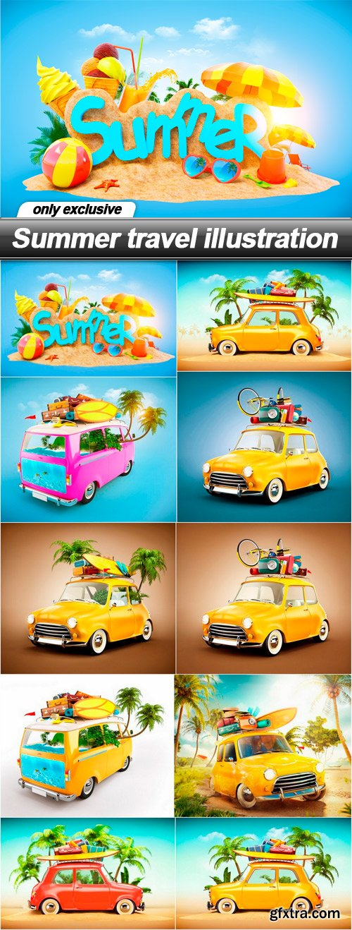 Summer travel illustration - 10 UHQ JPEG