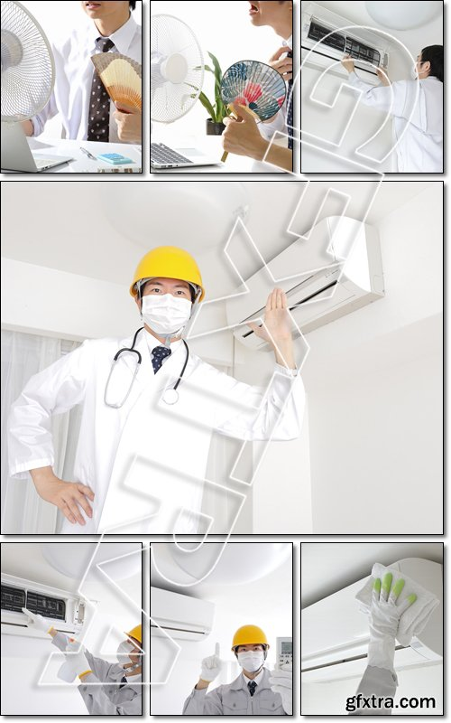 Maintenance of indoor air conditioning - Stock photo