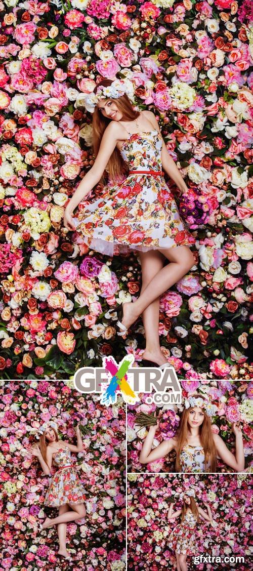 Stock Photo - Woman near Floral Wall