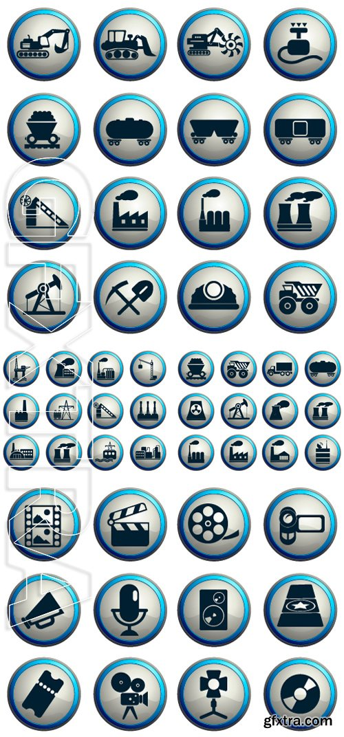 Stock Vectors - Factory and Industry Symbols. Film Industry Icons