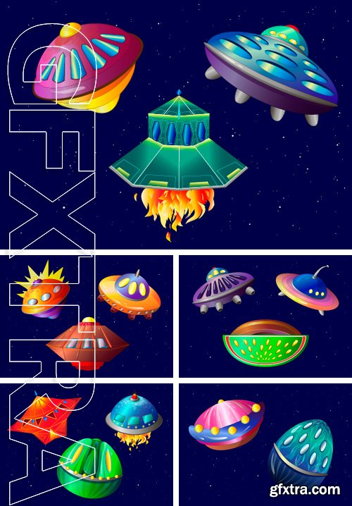Stock Vectors - Flying objects. aliens in space. vector