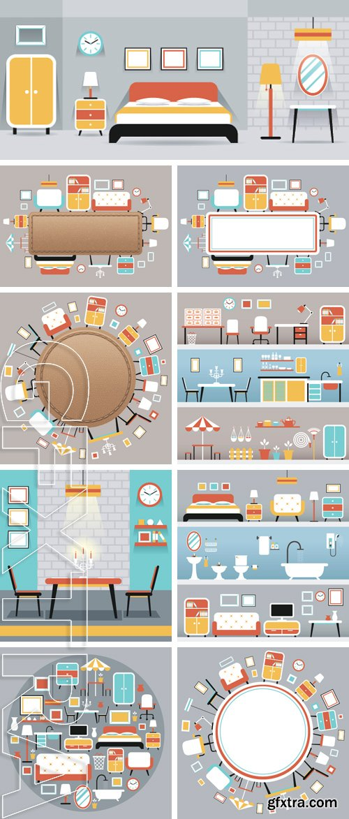Stock Vectors - Furniture Flat Icons Frame , Household, Home Interior Objects