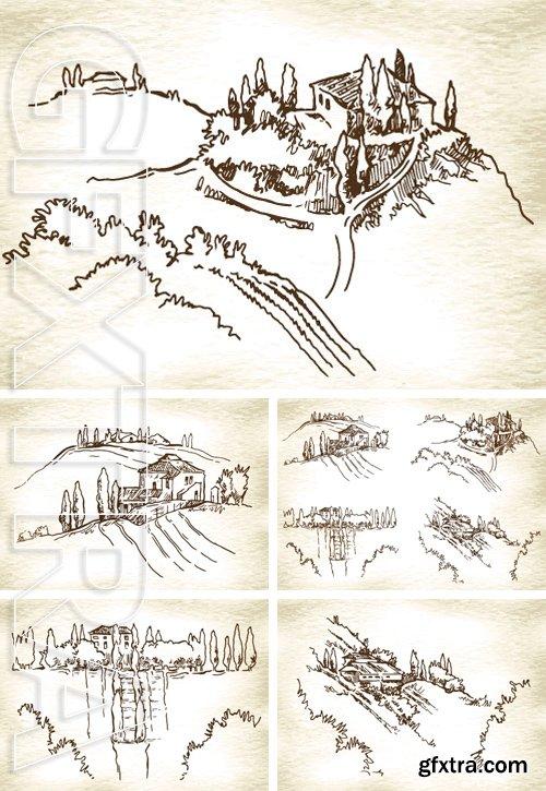 Stock Vectors - Hand made vector sketch of cypress landscape