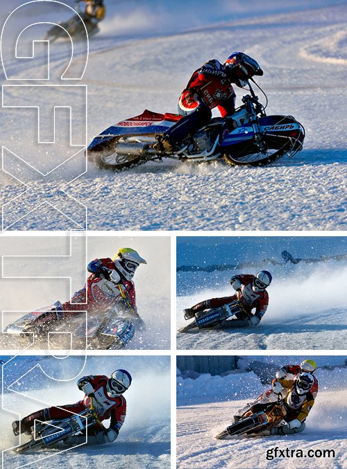 Stock Photos - Biker during the semi-final individual rides of  Ice Speedway Championship