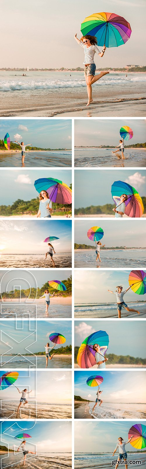 Stock Photos - Cheerful caucasian young woman with rainbow umbrella having fun on the Jimbaran beach on Bali before sunset with beautiful ocean and blue sky on background