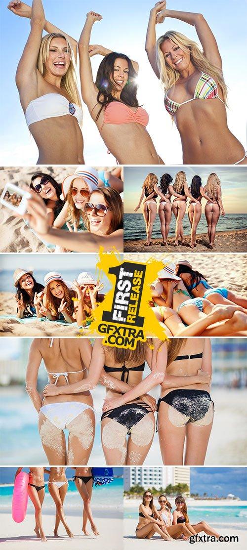 Stock Photos Group of young beautiful girls having fun at beach