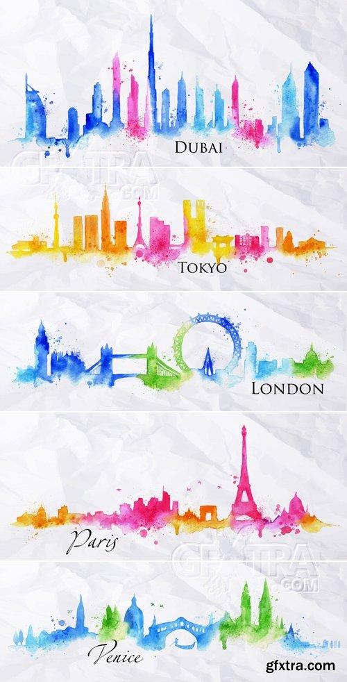 Watercolor City Skyline Vector