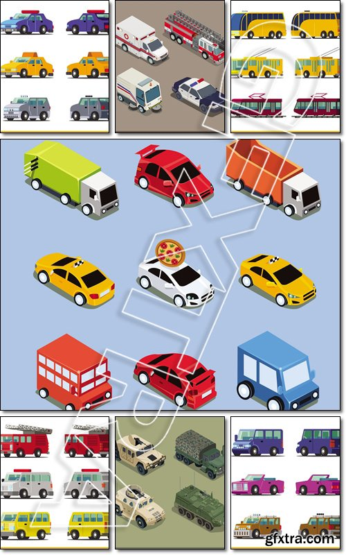 Flat 3d isometric transport icon set. Sport scar, car hatchback taxi cab car - Vector
