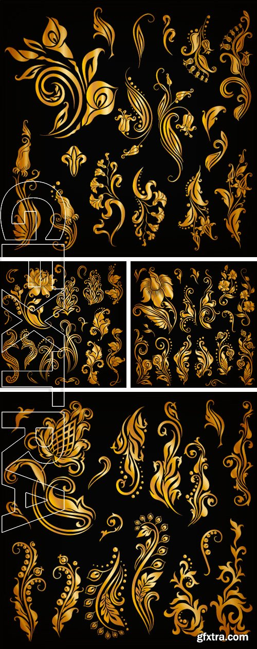Stock Vectors - Set of decorative hand-drawn calligraphic elements, gold floral pattern for page. Elegant retro collection on black background. Vector illustration