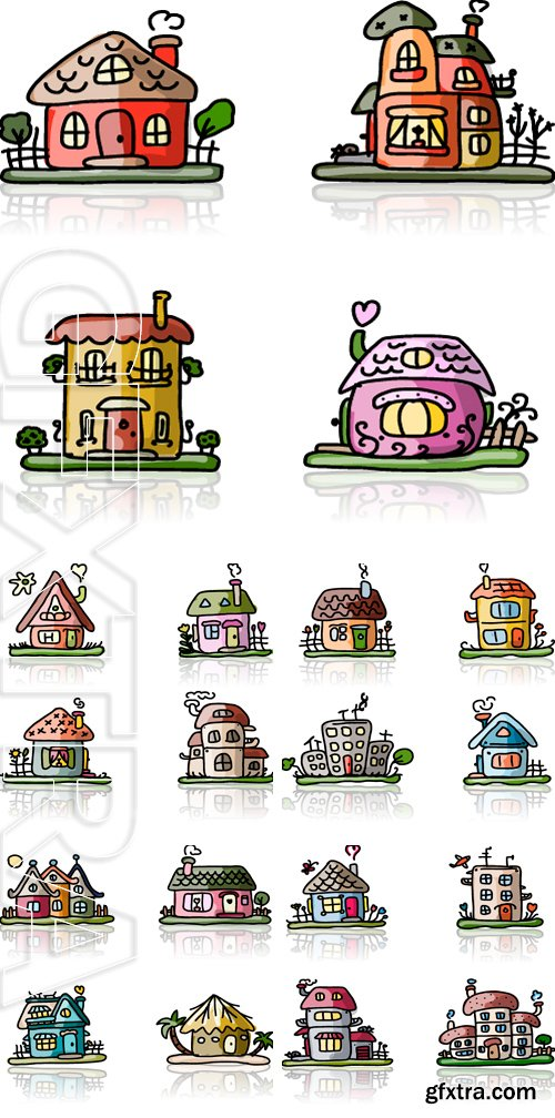 Stock Vectors - Set of houses, sketch for your design. Vector illustration