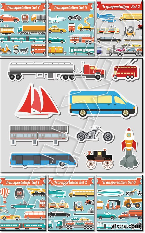 Set of all types of transport. Water, road, urban, air, cargo, public and ground transportation set - Vector