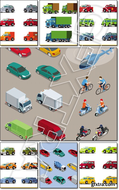 Flat 3d isometric differents transports icon set. Build your own world web infographic collection - Vector