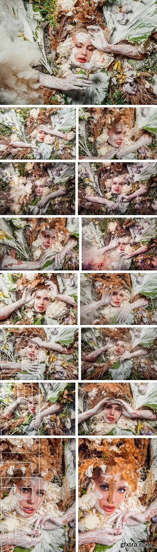 Stock Photos - Fairy tale girl portrait surrounded with natural plants and flowers. Art image in bright fantasy stylization
