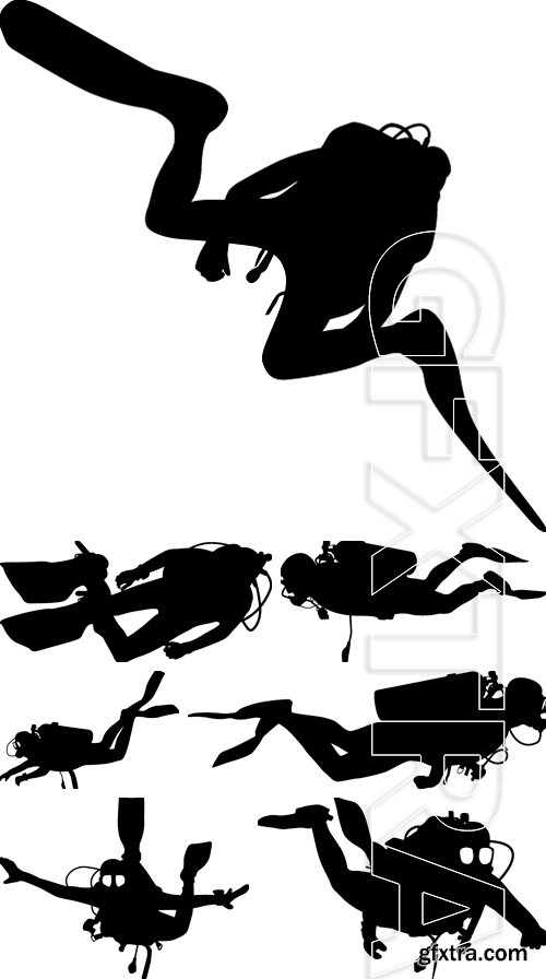 Stock Vectors - Black silhouette scuba divers. Vector illustration
