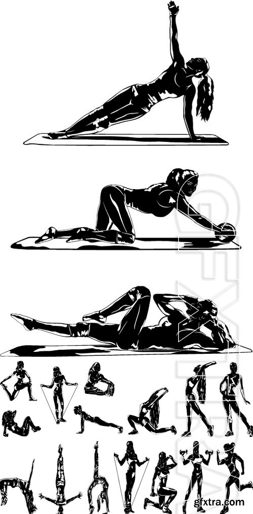 Stock Vectors - Young woman silhouette three sports poses on white background