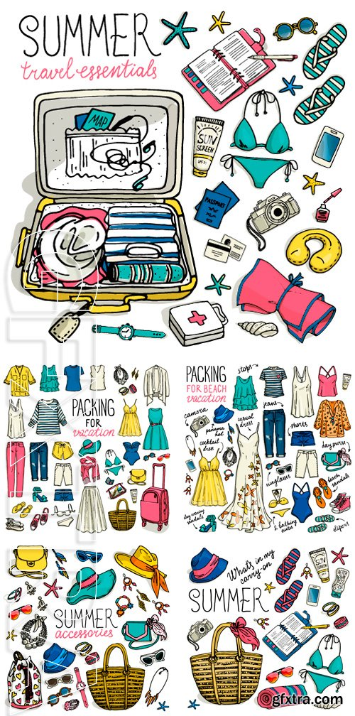 Stock Vectors - Summer travel luggage. Packing for beach vacation. Woman clothing set