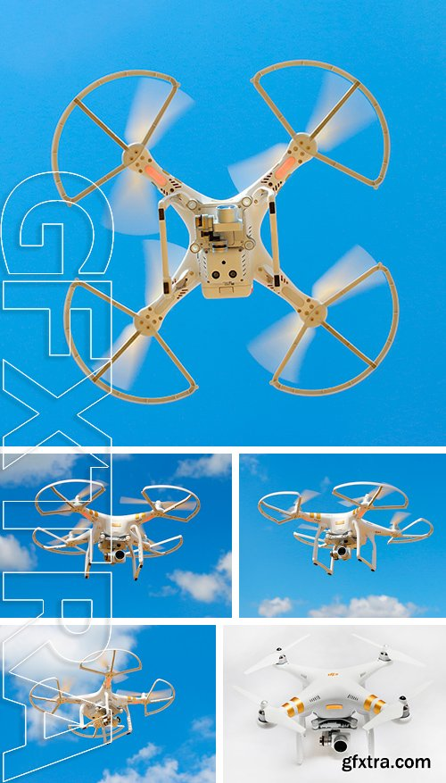 Stock Photos - Drone quadrocopter Dji Phantom 3 Professional with high resolution digital camera. New tool for aerial photo and video