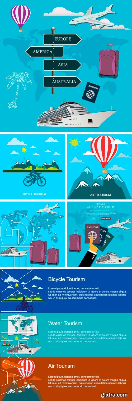 Stock Vectors - Bicycle, water, air tourism concepts in flat style for web