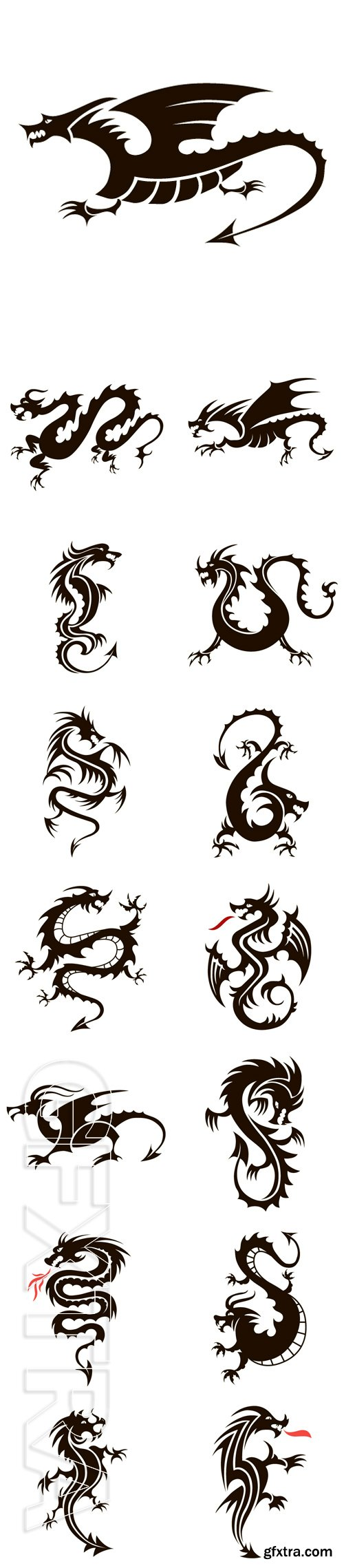 Stock Vectors - Vector black dragon on a white background