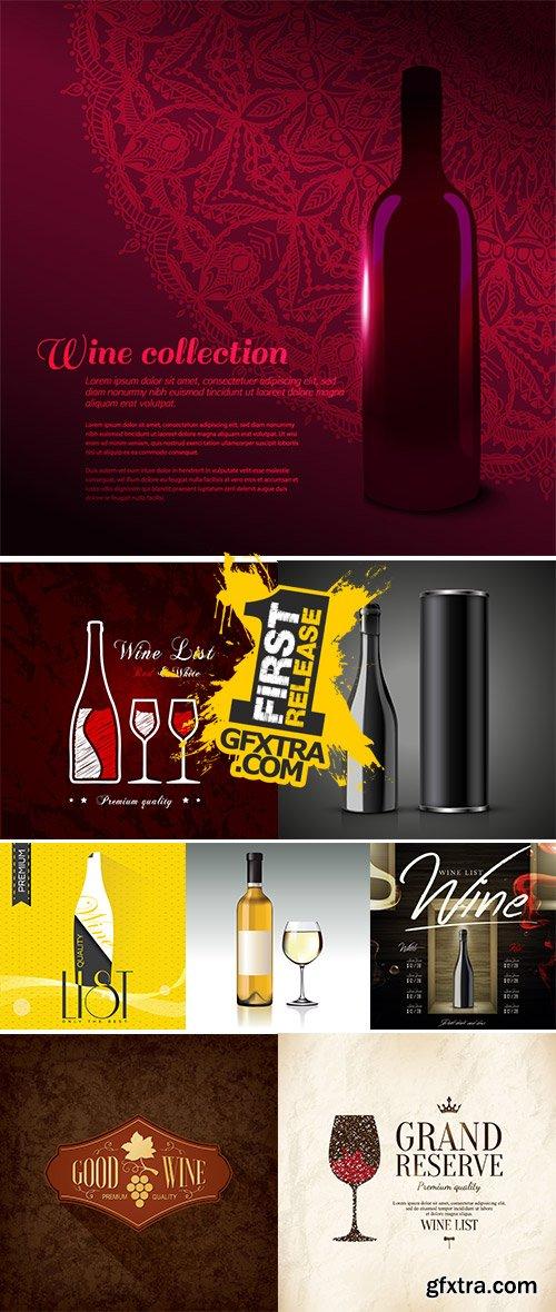 Stock Wine list design vectors, Wine Branding vector