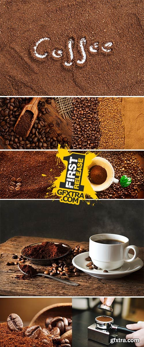 Stock Photos Fresh ground coffee with wooden spoon