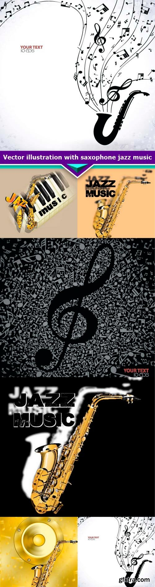 Vector illustration with saxophone jazz music 6x EPS
