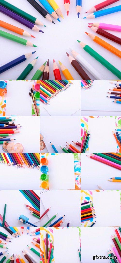 Colored paints, pencils raster clipart
