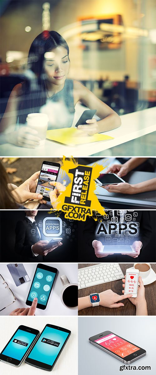 Stock Images - Personal apps on virtual screen, Internet concept, Business concept
