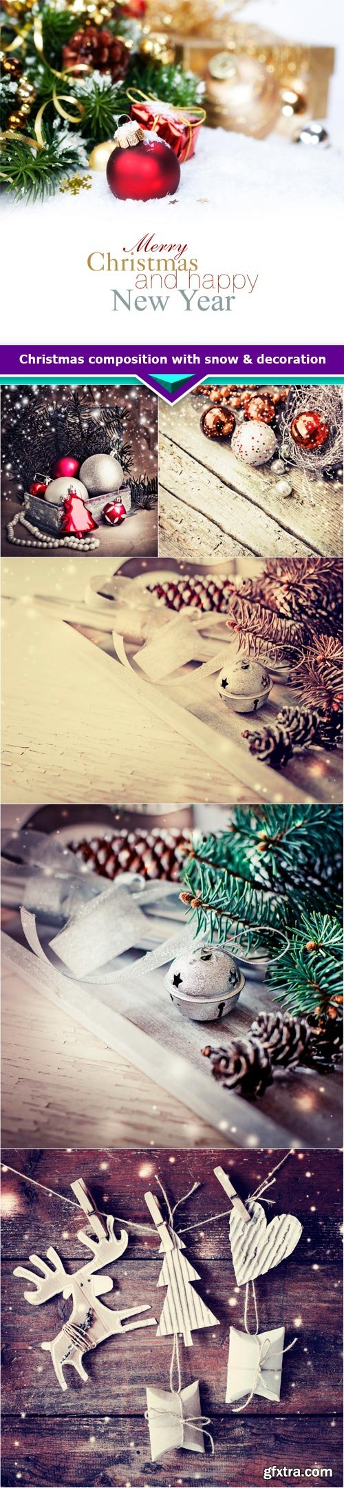 Christmas composition with snow & decoration 6x JPEG