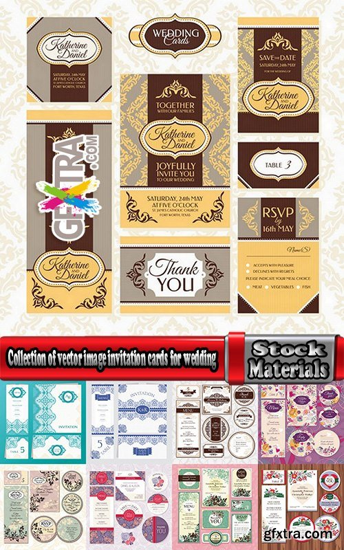 Collection of vector image invitation cards for wedding template example of calligraphy 25 Eps