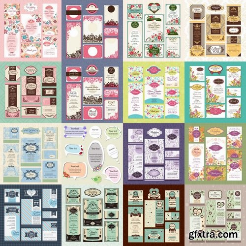 Collection of vector image invitation cards for wedding template example of calligraphy #2-25 Eps