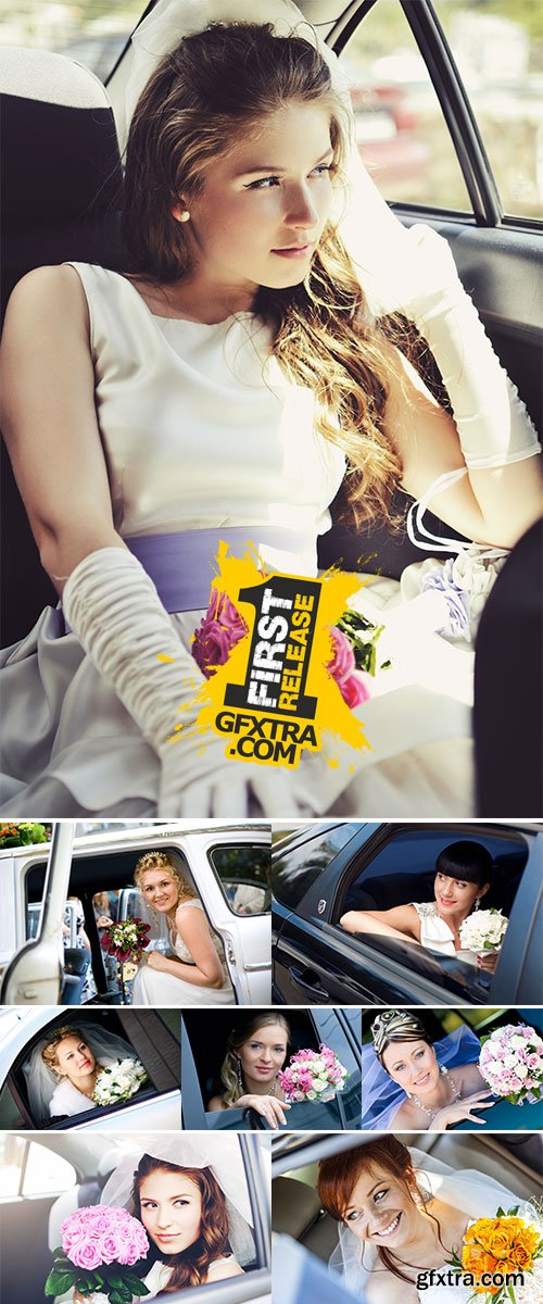 Stock Photos Happy bride with flower bouquet siting in the car