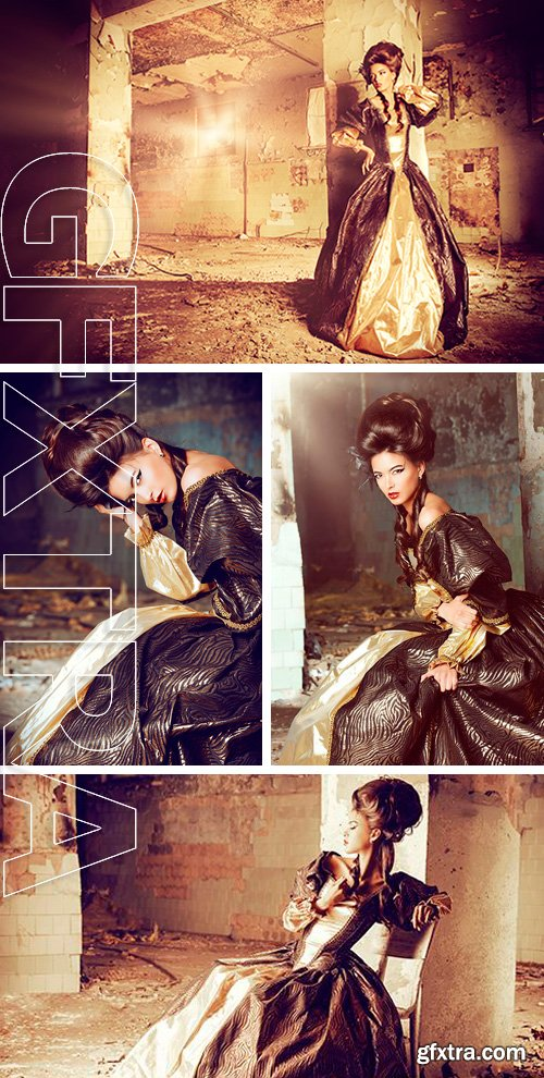 Stock Photos - Beautiful young woman in elegant historical dress and with barocco updo hairstyle posing in the ruins of the castle