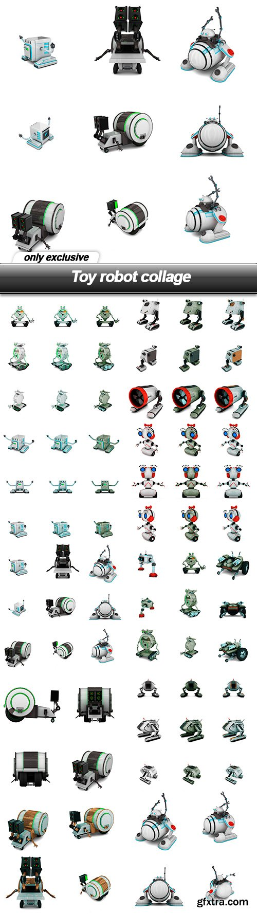 Toy robot collage - 10 UHQ JPEG