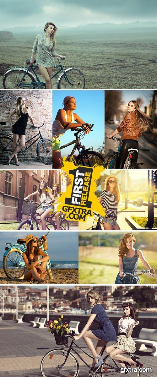 Stock Photos - Girl on bicycle