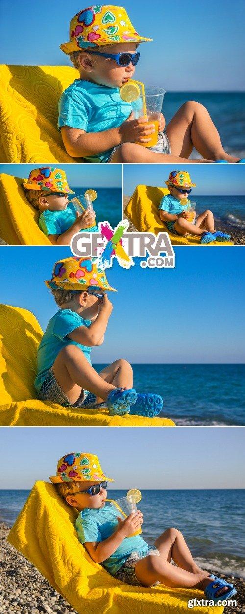 Stock Photo - Boy Kid on the Beach