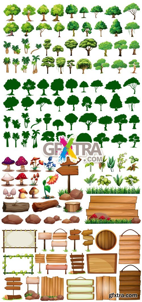 Trees & Wooden Boards Vector