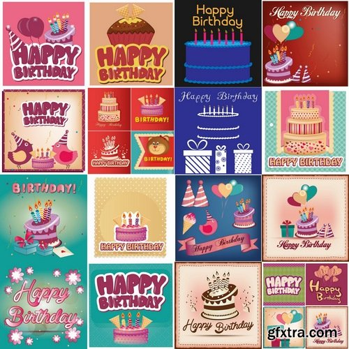 Collection of different vector image gift cards birthday celebration 25 Eps