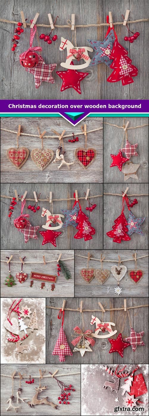 Christmas decoration over wooden background 10x JPEG