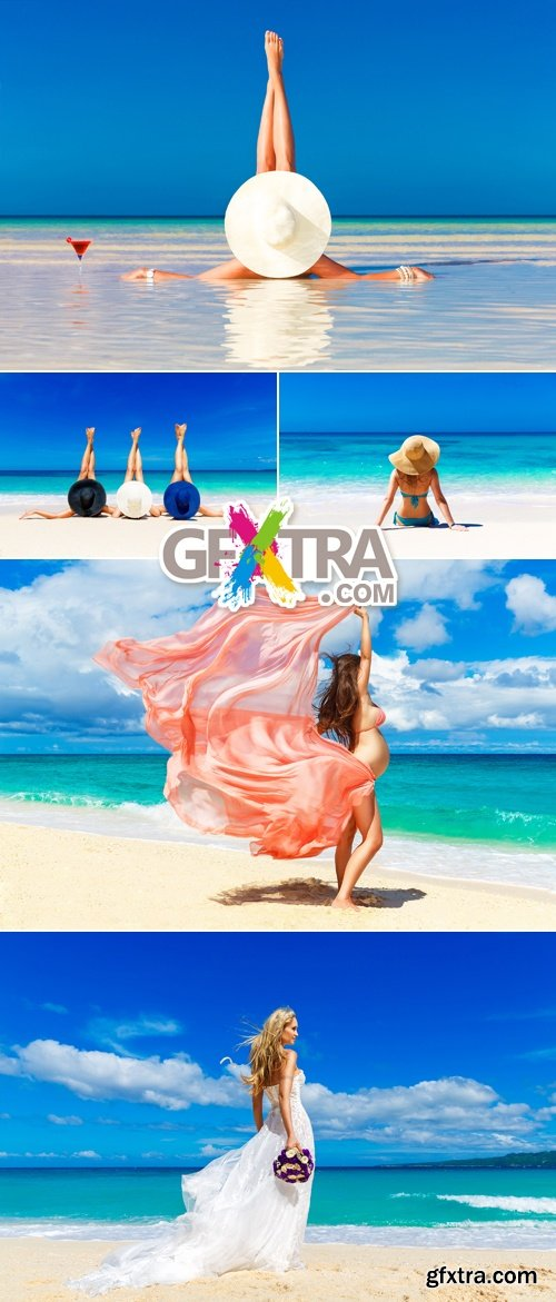 Stock Photo - Girls on the Beach