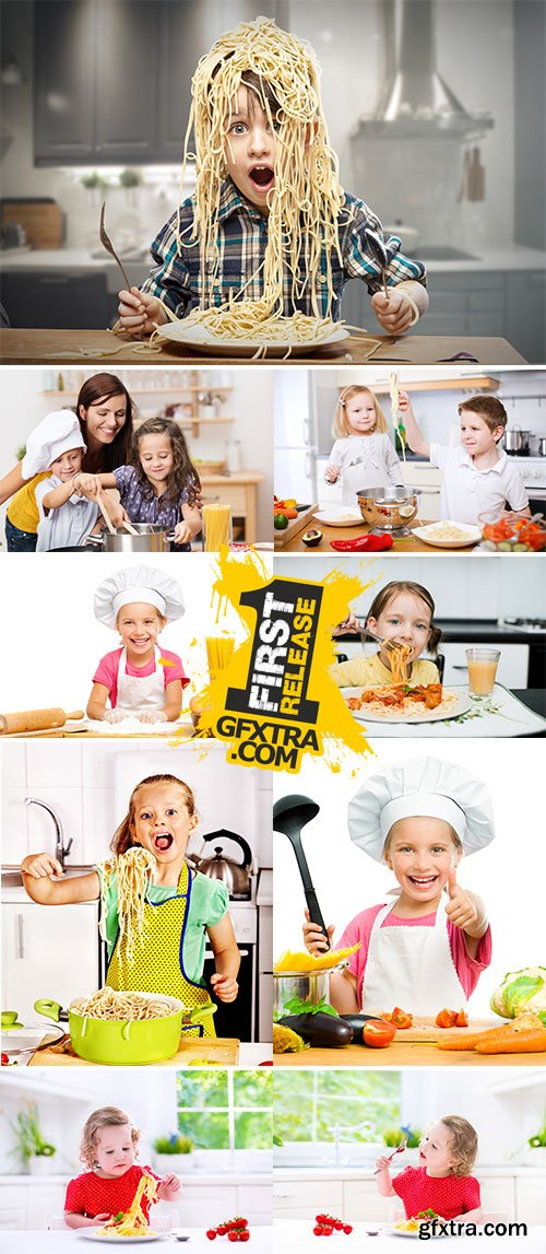 Stock Photos Children eating spaghetti at kitchen