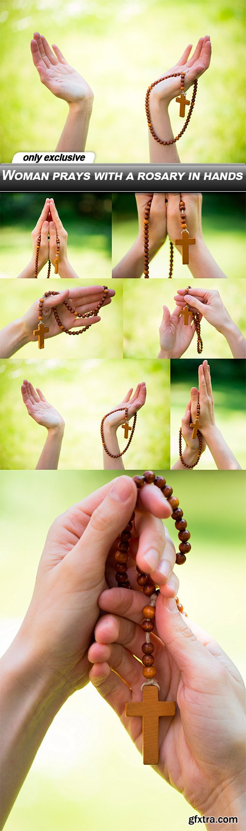 Woman prays with a rosary in hands - 7 UHQ JPEG