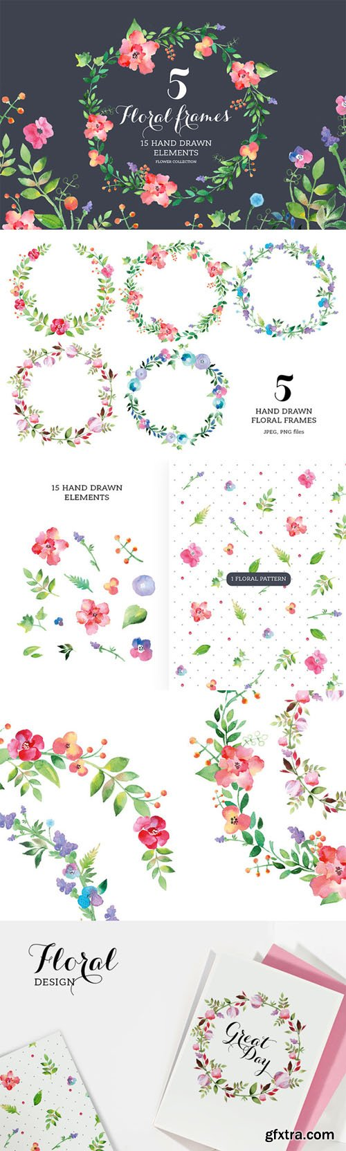 Set of watercolour Floral Frames - CM 65547