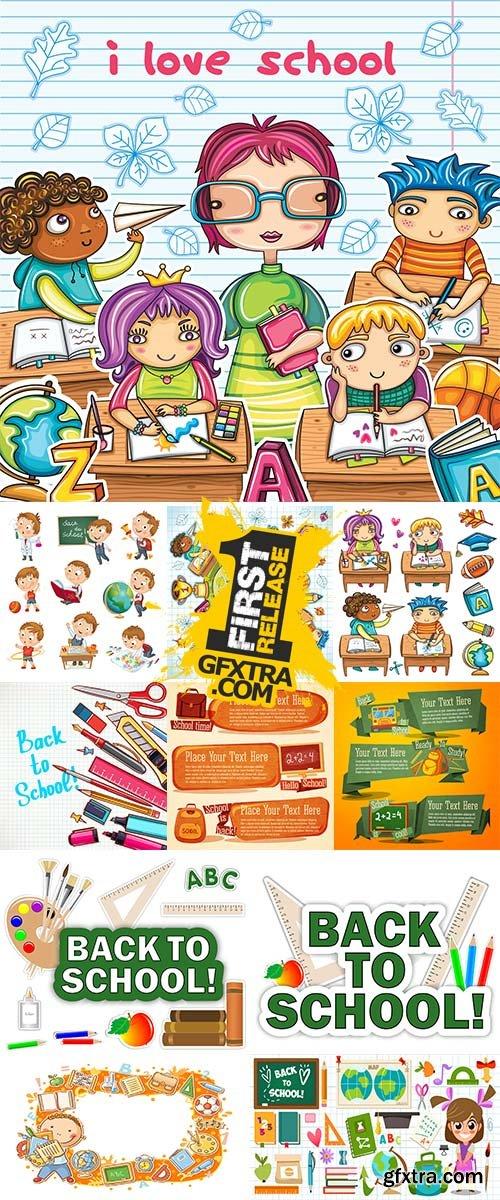 Cute school set vectors