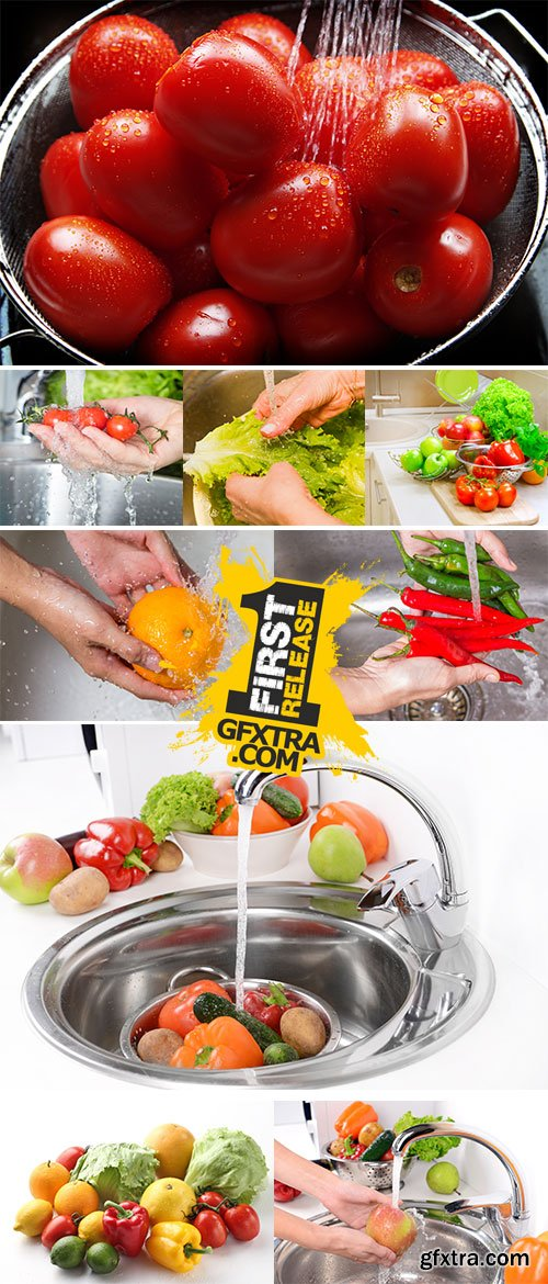 Stock Photos - Wash fruits and vegetables in the kitchen