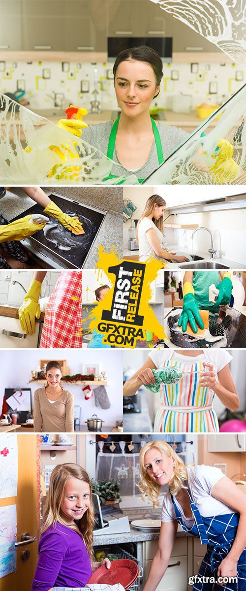 Stock Photos Woman cleans the kitchen at her home