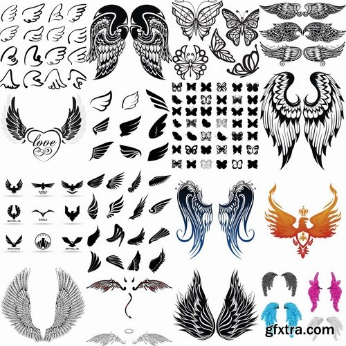 Collection of different wings silhouette pattern icon 25 EPS