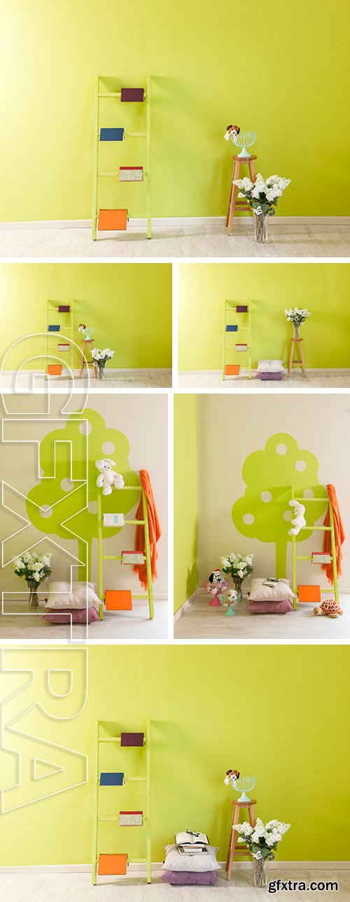 Stock Photos - Green wall baby room decor pillow and stairs