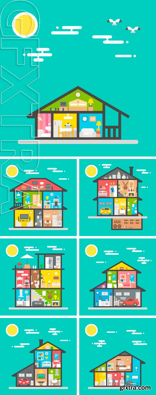 Stock Vectors - Flat design of house interior illustration vector