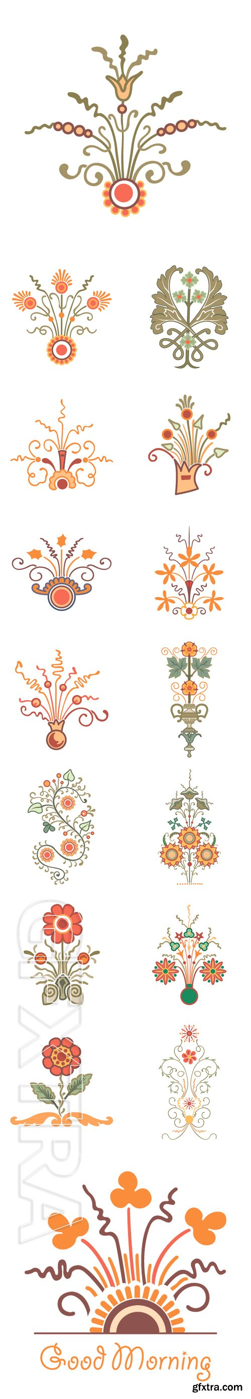 Stock Vectors - Freehand drawing, flowers and plants bouquet, classical